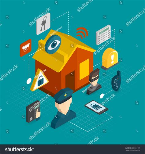 home security isometric decorative icons set stock vector