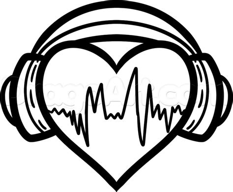 heartbeat headphones tattoo how to draw heart headphones step 6 super dessin