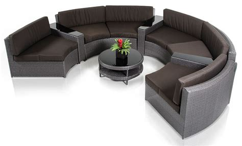 Round Outdoor Sectional Sofa Curved Outdoor Couch