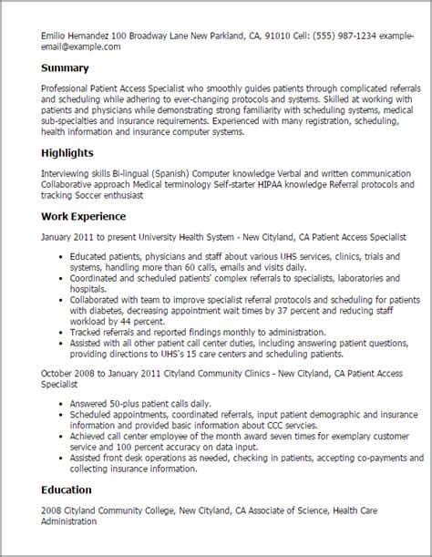 Resume Template Access by Patient Service Representative Resume Template Resume