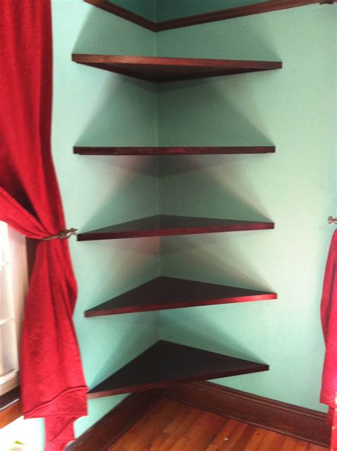 Triangle Corner Shelf by Varnished Brown Wooden Corner Three Shelves Connected With