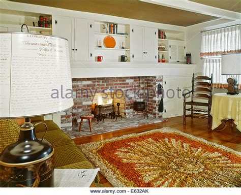 Early Home Decor by 1960s Interior Of Living Room With Shag Area Rug Fireplace