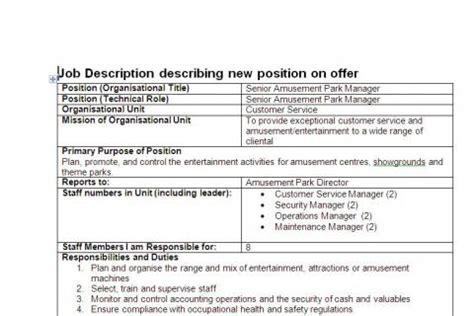 theme park job description job description 1 amusement park centre manager