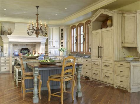 old world kitchen french country kitchen with distressed cabinets and blue