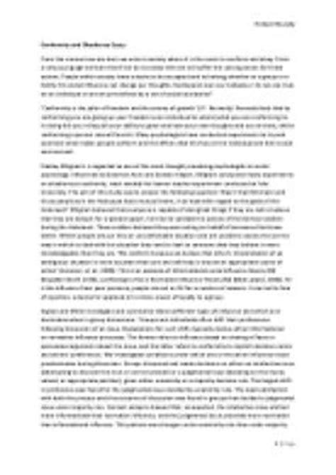 Conformity Essays by Conformity Vs Nonconformity Essay