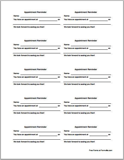 doc template appointment card patient appointment cards template printable