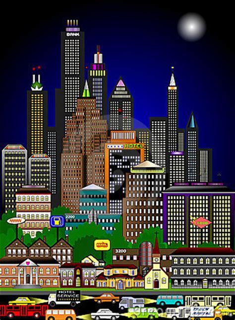 imagenes de paisajes urbanos animados apresurar paisaje urbano en la noche imagen de archivo