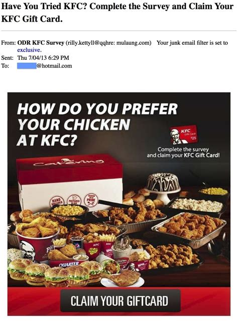 Kfc Gift Card Balance - the phishing gallery august 2013 the security advocate