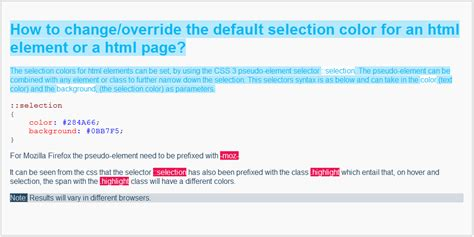 how to change background color of span element on hover change override the default selection color for html