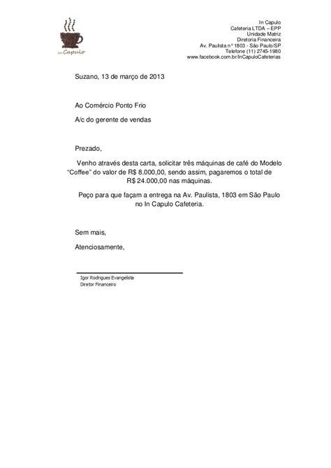 Carta comercial materiais