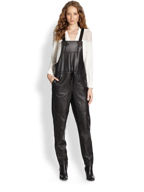 Overall Black T3009 3 elizabeth and lars leather overalls in black lyst