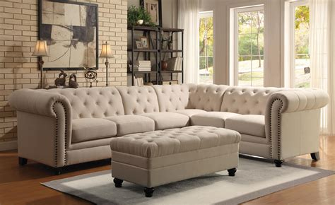 sofa configuration ideas coaster roy button tufted sectional sofa with armless