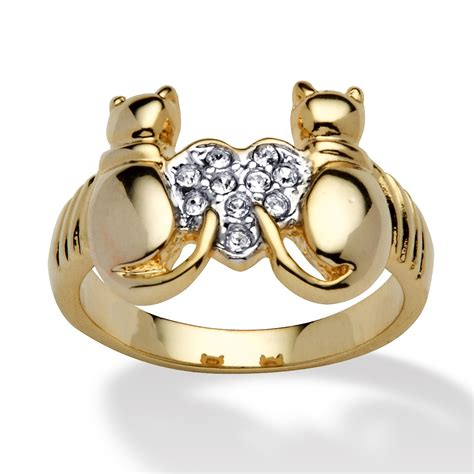 14k yellow gold plated cats and ring