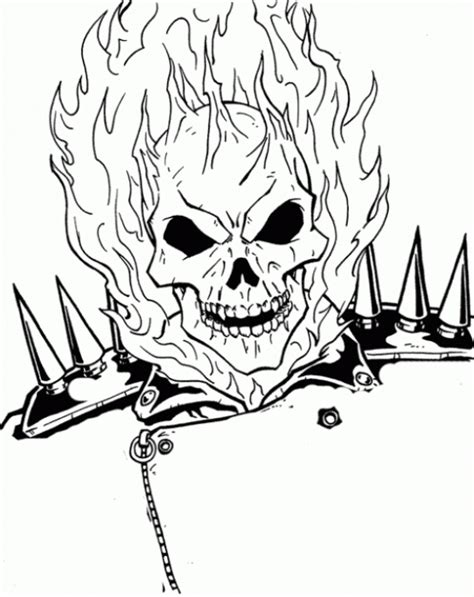 ghost face coloring page the burning face of ghost rider coloring page