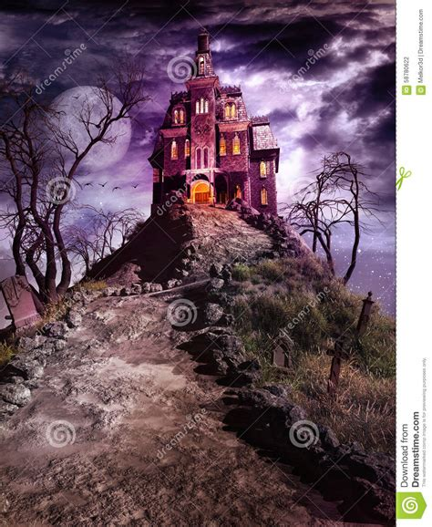 the house on haunted hill haunted house on the top of the hill stock illustration image 58780622