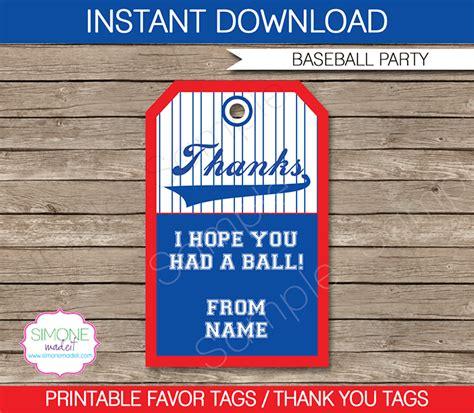 gift bag templates free printable baseball party favor tags template thank you tags