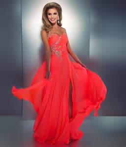 neon coral color mac duggal prom 2013 neon coral gown from unique vintage