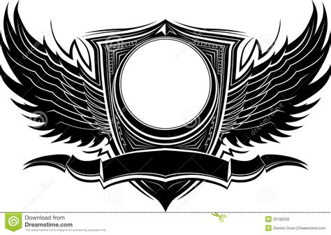 ornate badge with wings and banner template stock vector