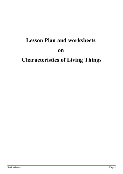 Characteristics Of Living Things Worksheet by Lesson Plan And Worksheets On Characteristics Of Living Lhings