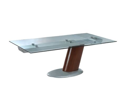 Glass Dining Table Modern Modern Glass Top Dining Table In Brown Finish European Design 33d242