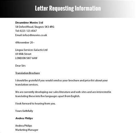 Formal Letter Format Asking For Information Sle Of Formal Letter Requesting Information Cover