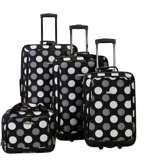 rockland luggage dots 4 piece luggage set multiple blue rockland fox luggage 4 piece luggage set black white