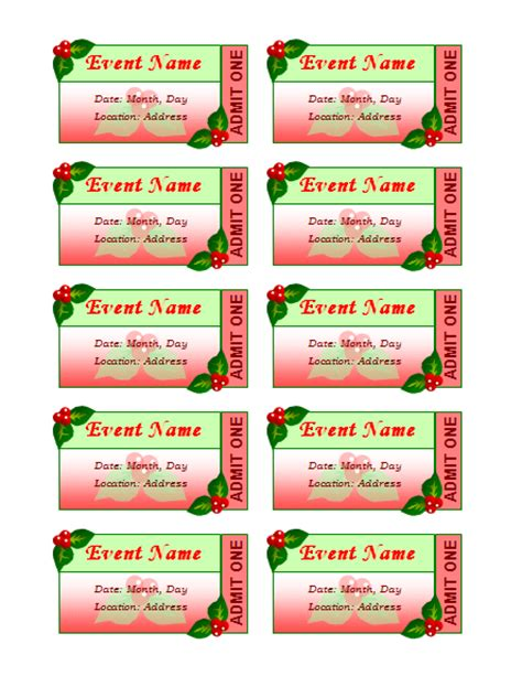 christmas ticket templates free search results