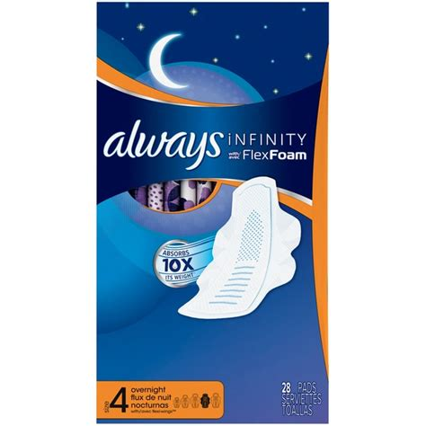 always infinity pads price always infinity size 4 overnight with flex foam pads from