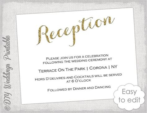 reception invitation card templates wedding reception invitation template diy quot gold glitter