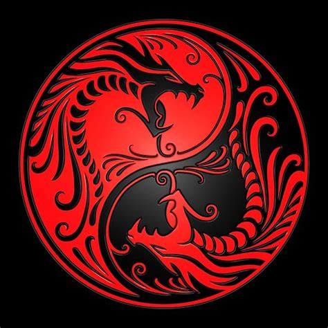 Quot yin yang dragons red and black quot posters by jeff bartels redbubble