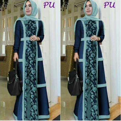 43986 Blue Dress Dress Pesta Maxi Biru baju gamis modern a233 nike brokat busana muslim cantik