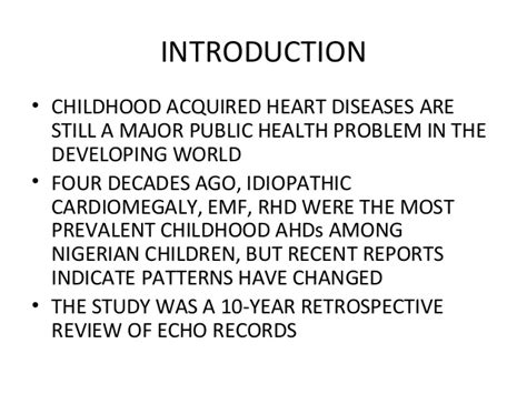 pattern of heart failure in a nigerian teaching hospital a review of childhood acquired heart diseases in north