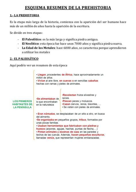 esquema de la prehistoria 2 1 esquema resumen de la prehistoria 1