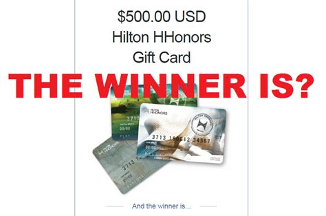Hilton Gift Card - and the winner of the 500 hilton gift card giveaway is loyaltylobby