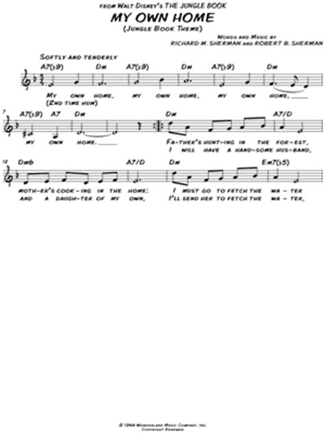 printable my house lyrics quot my own home quot from the jungle book sheet music