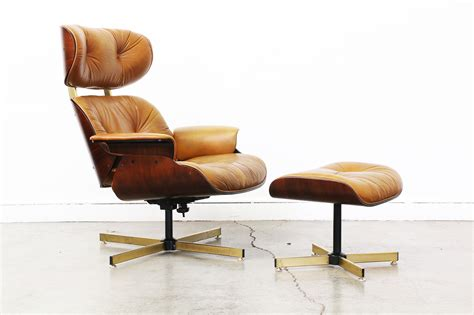 Lounge Chairs With Ottomans by Eames Style Leather Lounge Chair With Ottoman Vintage