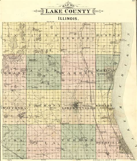 Records Lake County Il Lake County Illinois 1885 Historic Map Reprint