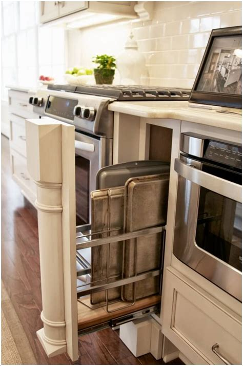 counter space small kitchen storage ideas 10 practical cookie sheet and baking tray storage ideas