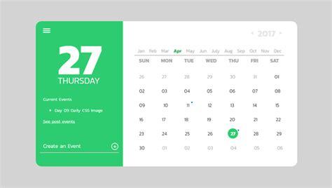 calendar design in css 32 css calendars
