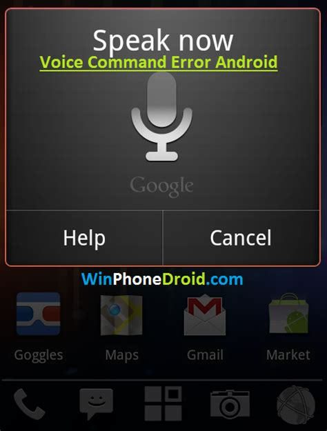 android voice commands voice command error android