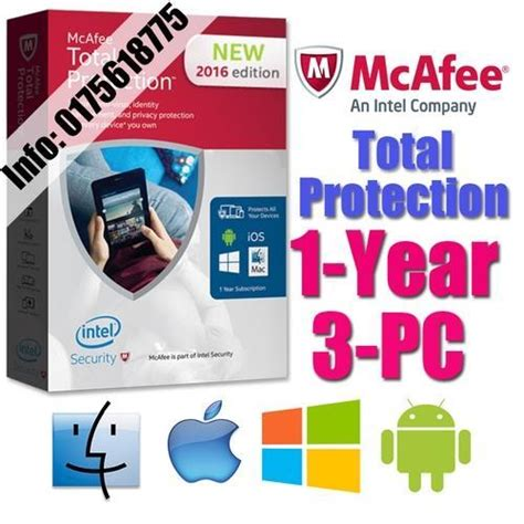 Mcafee Total Protection 2 Tahun 1 Pc mcafee total protection 2017 1year 3 end 6 13 2018 2 15 pm