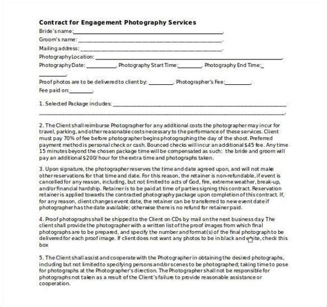 photographer agreement template photography agreement template
