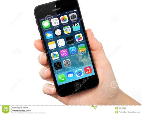 iphone operating system new operating system ios 7 screen on iphone 5 apple editorial stock photo image 33675793