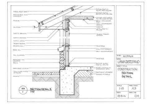 section detail drawing hand drawn construction drawings on behance