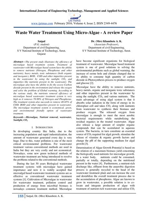 water treatment research papers waste water treatment using micro algae pdf