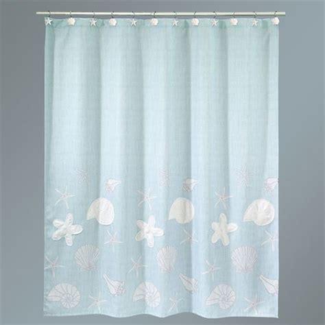 shell shower curtains sequin shells pale aqua coastal shower curtain