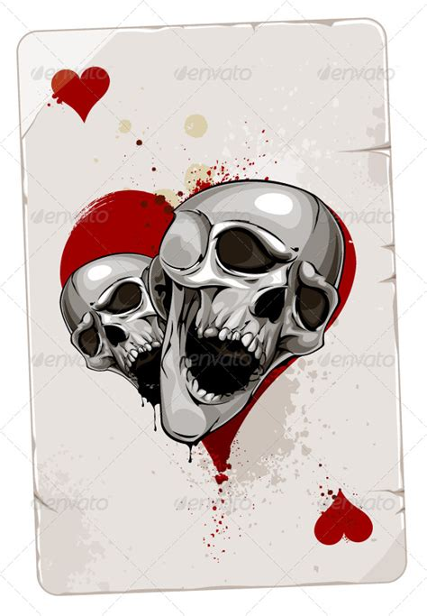 poker card with skulls by vecster graphicriver