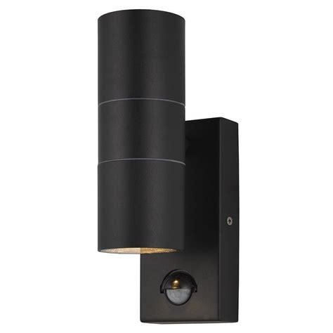 up and lights with sensor leto 2 light outdoor up and wall light with pir