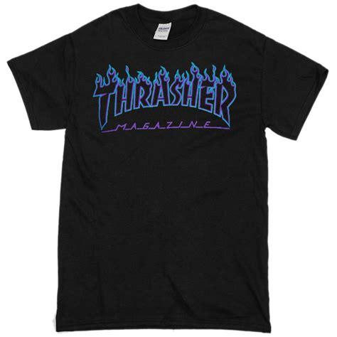 Thrasher Blue Tshirt thrasher blue black t shirt basic tees shop