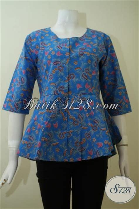 Blouse Blus Atasan Waka Ld 106 Cm baju batik atasan model blus warna biru pakaian batik modern desain mewah pas buat kerja